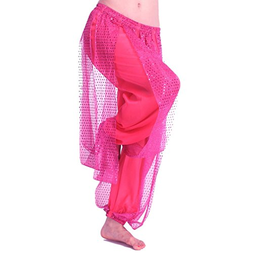 [Pilot-trade Women's Belly Dance Costume Shinny Bloomers trousers & Harem Pants Dark Pink] (Woman Pilot Halloween Costume)