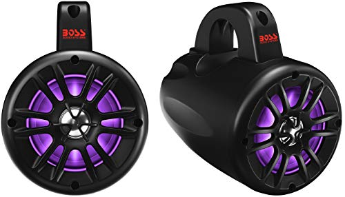 BOSS Audio Systems B40RGB ATV UTV Weatherproof Waketower Speaker System - Amplified, 4 Inch, Full Range, 2 Way, Bluetooth, RGB Led Illumination, IPX5 Rated Weatherproof, Sold in Pairs (Best Rated Tower Speakers)