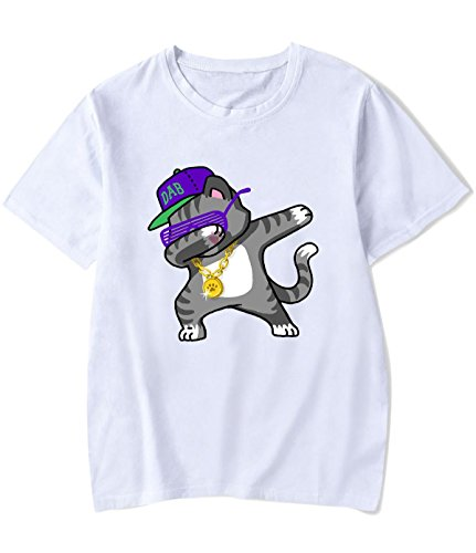 HLZSLt Dabbing Cat 1 Printing Casual Tee for Men XS White