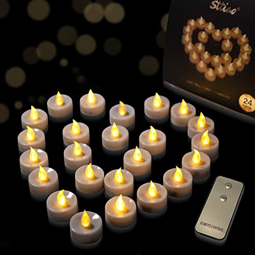 (MICREAT LED Tealight Candles with Remote Control Flameless LED Candles, Battery Powered Flickering, Tea Lights Warm White for Indoor Outdoor Wedding Centerpieces Decor 24 pcak)