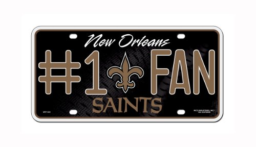Rico NFL New Orleans Saints #1 Fan Metal License Plate Tag (New Orleans Saints License Plate)
