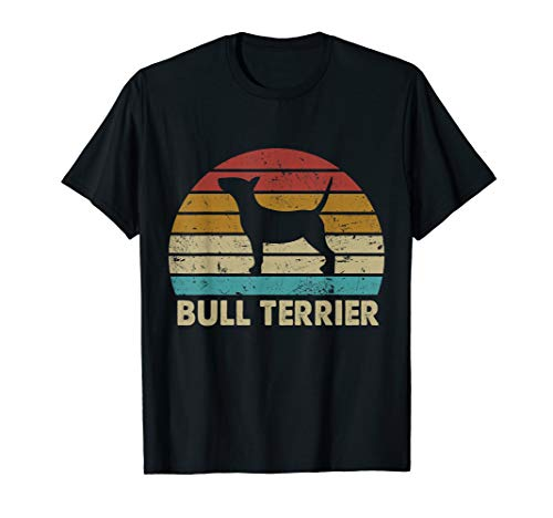 (Vintage Retro Bull Terrier T-Shirt Funny Dog Gifts Tee)
