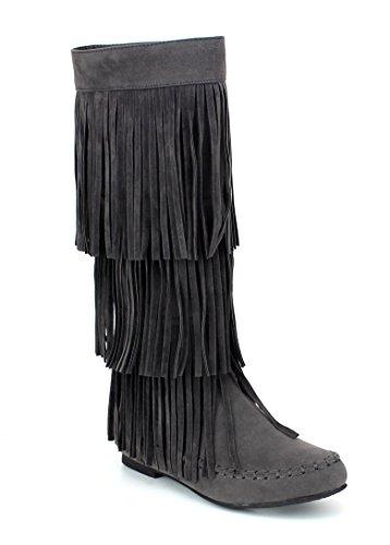 Boots Grey High Zipper 02 Refresh Knee Heel Under Moccasin JOLIN Fringe Flat Women's FwqAxH