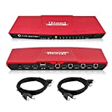 HDMI Switch, TESmart 4K 4x1 KVM Switch HDMI 4 Ports 3840x2160@30Hz with 2 Pcs 5ft KVM Cables Supports USB 2.0 Device Control up to 4 Computers/Servers/DVR, Aluminum Alloy Case 4 Input 1 Output hdmi kvm switche
