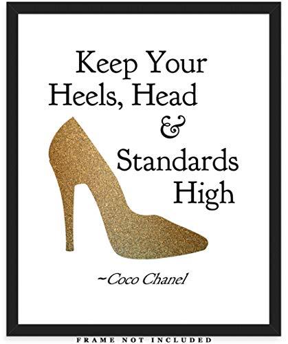 Keep Your Heels, Head & Standards High Motivational Art Print: Unique Room Decor for Women - (8x10) Unframed Picture - Great Wall Art Gift Idea