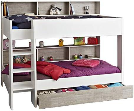 Lit superposé Darius conforme Blanc avec tiroir de lit + ...