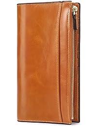 On Sale - S-ZONE Women's Genuine Leather Trifold Long Wallet Card Case Slim Clutch Purse
