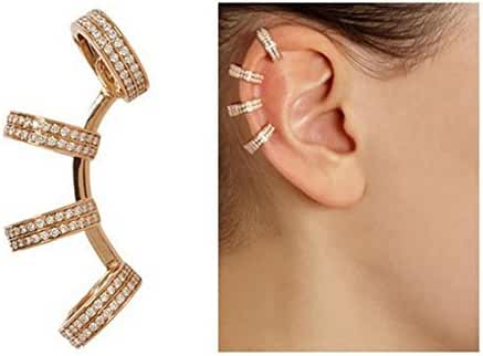 MANDI HOME Fashion Cuff Earrings With Double Piercings Gold