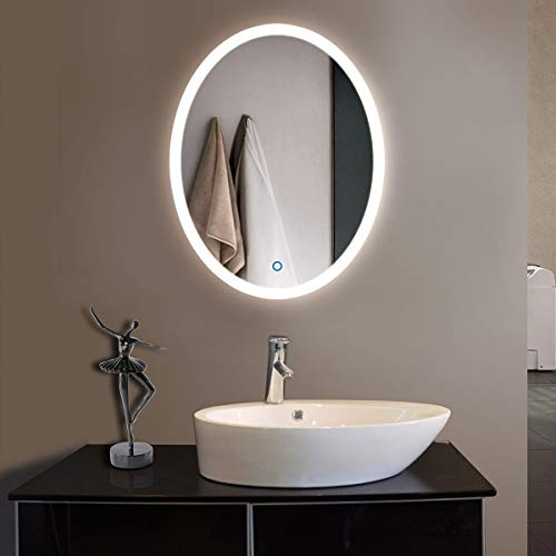DP Home Oval Wall Mounted Vanity Mirror, Round Beautiful Bathroom Mirror with -