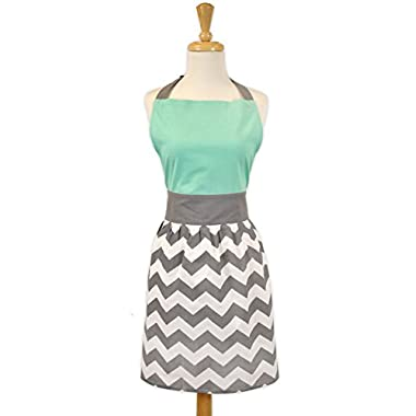 DII 100% Cotton, Trendy, Fashion Skirt Ladies Women Apron, Kitchen Chef Adult Apron, Adjustable Neck & Waist Ties, Perfet for Gift,Cooking, Baking, Crafting- Chevron