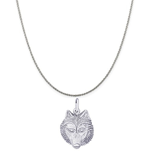 rling Silver Wolf Head Charm on a Sterling Silver Rope Chain Necklace, 18