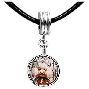 Chicforest Silver Plated Christmas Jester Dog Photo Red Zircon Crystal July Birthstone Flower dangle Charm Beads Fits Pandora Bracelet