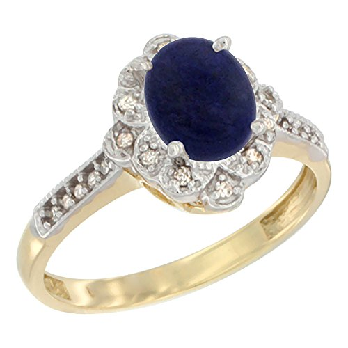 14K Yellow Gold Natural Lapis Ring Oval 8x6 mm Floral Diamond Halo, size 7.5