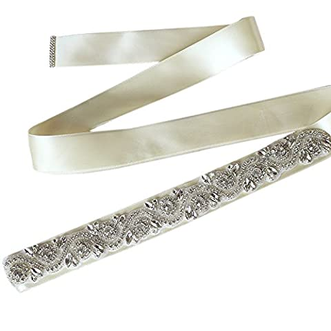 Sisjuly Women's Handmade Crystal Beaded Satin Bridal Sash Wedding Belt - Length Beaded Satin