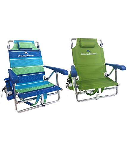 Tommy Bahama 2019 Backpack Beach Chair with Storage Pouch and Towel Bar from Grist Mill (Bahama Stripe & Sage Green)