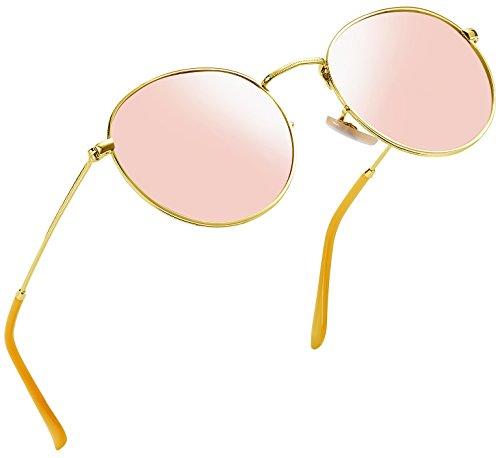 Joopin-Polarized Sunglasses Men Coating Lens Sun Glasses Women Vintage Round Sunglass Man (Pink) by Joopin