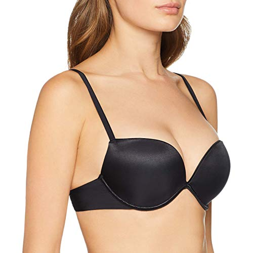 (Wonderbra Full Effect 8144 Gel Air Underwired Push Up Plunge Padded Bra Black US38D)
