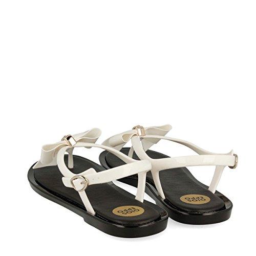 Gioseppo Astranza 39397 white sandali bianchi infradito bassi con fiocco e strass