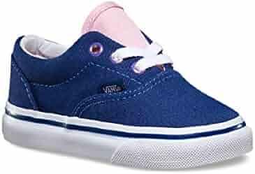 59f03cc88e Vans Kids (Shiny Eyelets) Skate Shoes Twilight Blue Pink Mist VN0001UNIJB