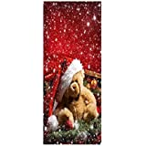 LIOOBO Christmas Wall Sticker Little Bear Sticker Waterproof Dustproof Art Sticker Christmas Wall Mural Kindergarten Decorative Sticker for Bedroom Living Room