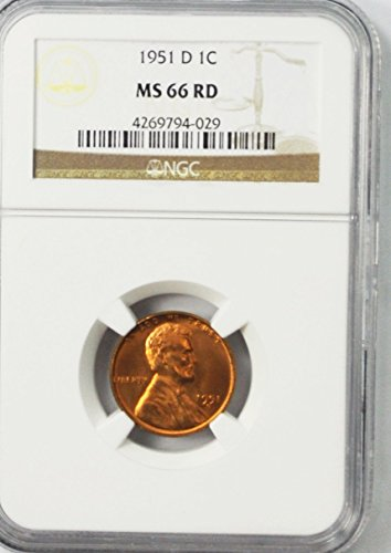 1951 D Lincoln Wheat Cents Brilliant Uncirculated Rare AZC13 Penny MS66 NGC RD