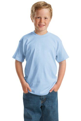 (Hanes Heavyweight 50/50 - 50/50 Cotton/Poly T-Shirt, Youth XS (2-4), Lt. Blue)