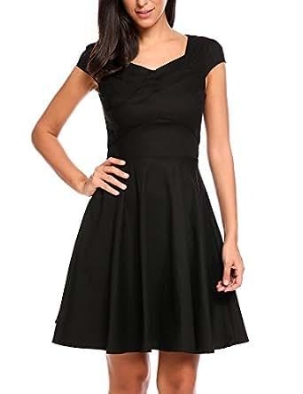 Meaneor Vintage dress Women's 1950s sleveless Swing A Line Tea Dress