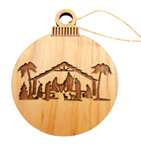 Irish Nativity Scene (Christmas Bulb Shaped Flat Wooden Nativity Manger Scene Ornament Made in the USA, 3 Inches)
