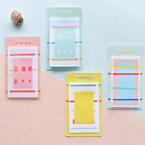 (Memo Paper Pads - 4 pcs Striped color sticky note 30 sheets self-adhesive memo pad Post diary planner stickers Office)