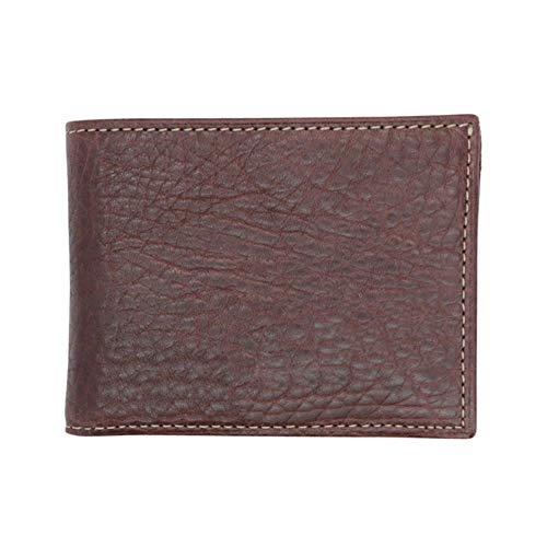 Brown Genuine Leather Bifold Wallet - Arizona Bison Grain - RFID Blocking - Contrast Stitch - American Factory Direct - Slim Fold - Made in USA by Real Leather Creations FBA283
