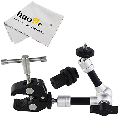 Haoge 7 inch Articulating Friction Magic Arm with Large Clamp Crab Pliers Clip for HDMI LCD Monitor LED Light DSLR Camera Video Tripod