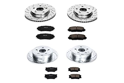 Power Stop K4100 Front & Rear Brake Kit with Drilled/Slotted Brake Rotors and Z23 Evolution Ceramic Brake Pads (Best Ceramic Brake Pads Brand)