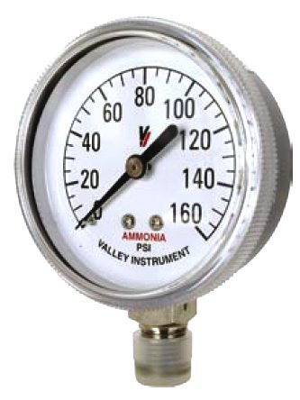 Valley Industries 2 1/2'' Stainless Steel Anhydrous Ammonia Gauge; 0-160 PSI (2180DSX160) by Valley Industries