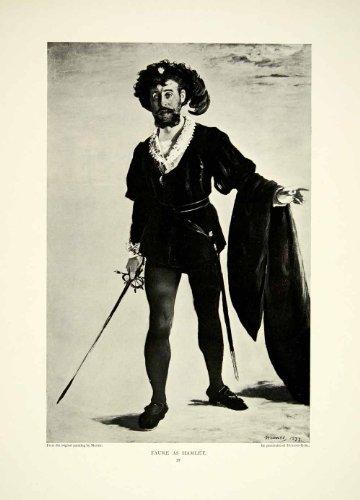 [1895 Print Edouard Manet Art Faure As Hamlet Theatre Shakespeare Actor Costume - Original Halftone Print] (Hamlet Costumes Shakespeare)