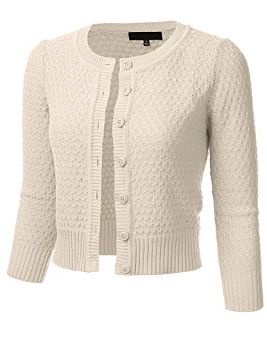 FLORIA Women's Button Down 3/4 Sleeve Crew Neck Cotton Knit Cropped Cardigan Sweater Oatmeal L