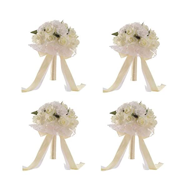 Anferstore Wedding Bouquets, Pearl Silk Roses Bridal Bridesmaid Wedding Hand Bouquet Artificial Fake Flowers for Wedding, Party and Church (4 Pack White)