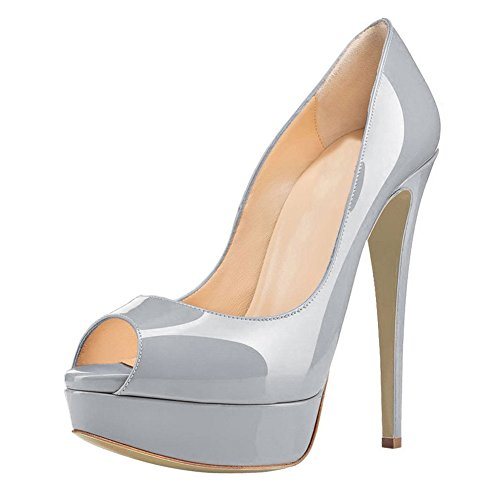 (Joogo Women Peep Toe Pumps Platform Thin Heel Stiletto Sandals Wedding High Heels Slip On Dress Shoes Grey Size 9.5)