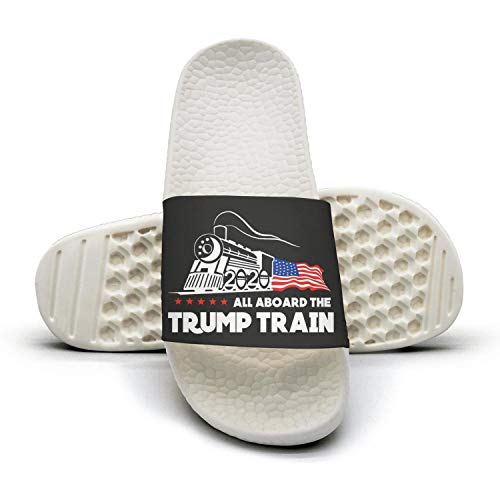 UIOZDSCD All Aboard The Trump Train 2020 White Slides Shoes Sandal Slippers Indoorextra-Soft WomensWater Plain