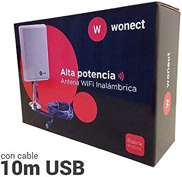 ANTENA WONECT 10 METROS PANEL PLANAR 36DBI EXTERNA COMPATIBLE AUDITORIA CHIPSET RALINK 3070 EXTERIOR CON 10M CABLE USB ACTIVO