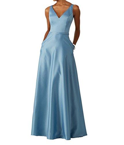 V Satin La Langes Ballkleider Ausschnitt mia Braut Pink Hell Blau Festlichkleider Abendkleider Tanzenkleider Neu BwBqnRXIT