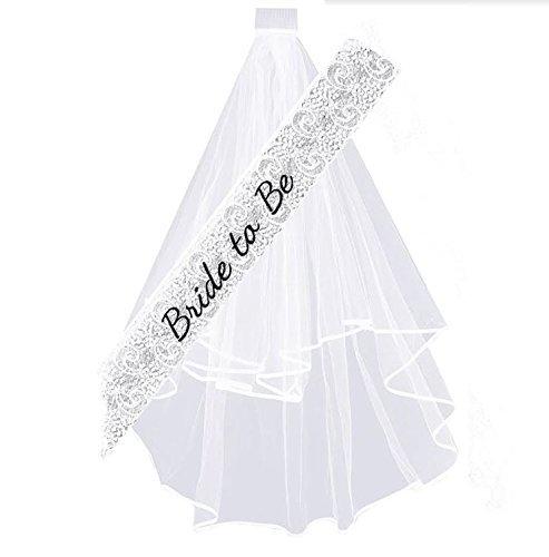Stunning White Lace Keklle Bride To Be Set Bachelorette Party Bridal Sash /& Veil