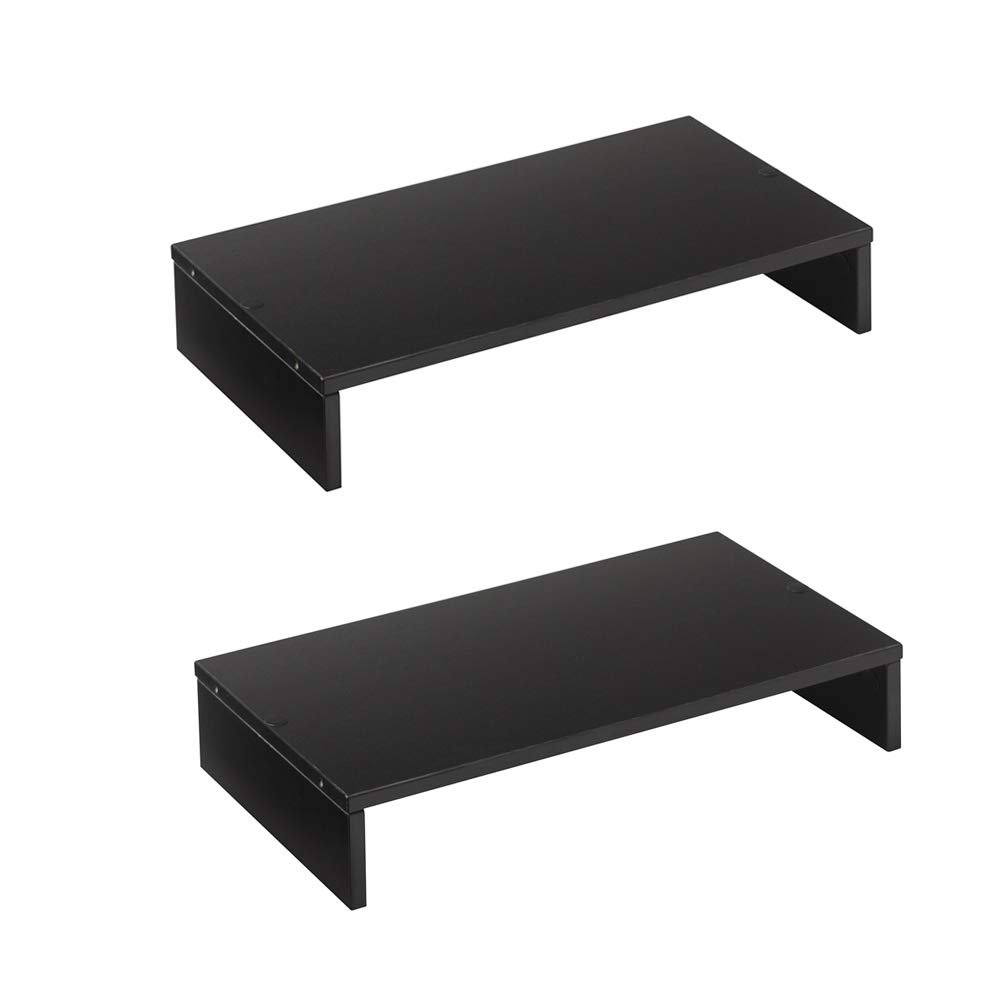 Rfiver Small Desktop TV Shelf Rack Computer Desk Monitor Stand Riser with Versatile Storage Organizer, One-Tier Black 16.5 x 9.3 inch-2 Pack CM1006