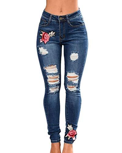 Dunkelblau Con Mujer Jeans Bordados Agujeros Del Libre De Vaqueros Bolsillos Estiramiento Flor Aire Mujeres Mezclilla Al Casuales Pantalones La Delgados gHwqX6xw8