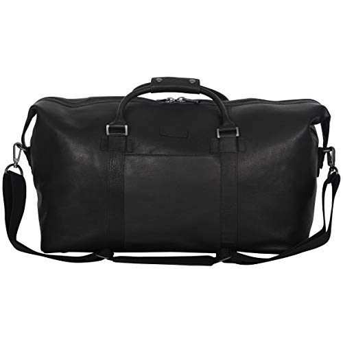 "41u90uTJXML - Kenneth Cole Reaction I Beg to Duff-er' Full-Grain Colombian Leather Top Zip 20"" Carry-On Duffel Travel Bag, Black"