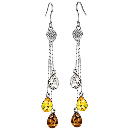 (Neoglory Jewelry Teardrop Crystal Five Colors Drop Earrings 3.14