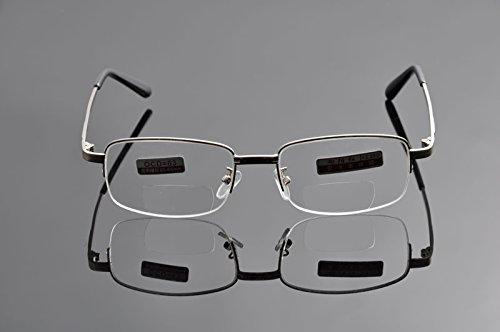 De Ding Metal Half Rim Bifocal Reading Glasses (silver, 2.5 x)
