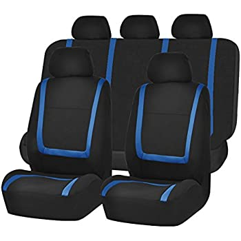 FH Group FB032115 Unique Flat Cloth Seat Covers Blue Black Color