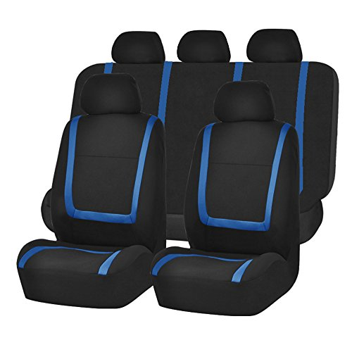 FH GROUP FH-FB032115 Unique Flat Cloth Seat Cover w. 5 Detachable Headrests and Solid Bench Blue/Black- Fit Most Car, Truck, Suv, or Van