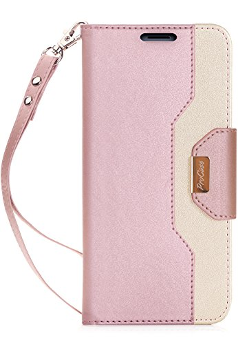 ProCase Wallet Case for Galaxy Note 8, Folio Flip Case with Card Holder, Folding Stand Protective Cover for Samsung Galaxy Note8 2017 –Pink