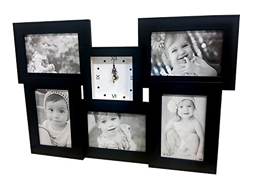 Clock picture frame collage, Black, Holds 5 4